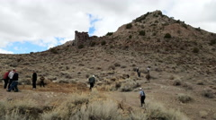 Utah desert mining ghost town men explore 4K Stock Footage