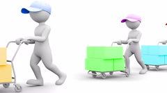 The Deliver. 3D character with a Hand Truck. People series.  Stock Footage