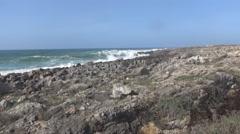 Long rocky ocean surf zone Stock Footage