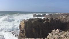 Rocks Waves, panorama rocky shore Stock Footage