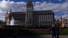 Some people, tourists at Catalonia Square, sunny evening, panoramic shot Stock Footage