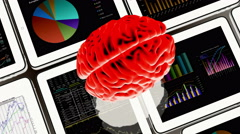 Stock Video Footage of 4k rotating brain & Mobile devices,finance pie charts & stock trend in the ipad