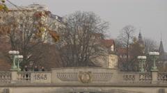 The center of Dragon Bridge in Ljubljana Stock Footage