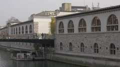 Butchers' Bridge on the Central Market side of Ljubljanica River in Ljubljana Stock Footage