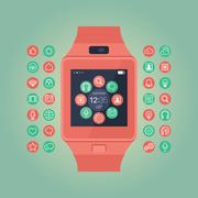 Stock Illustration of Smart watch vector illustration. Mobile gadget