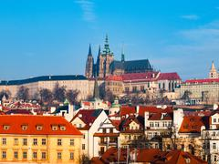 Prague Castle and St Vitus Cathedral Stock Photos