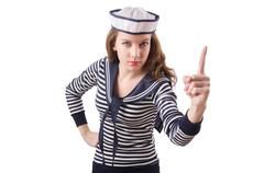 Stock Photo of Young woman sailor isolated on white
