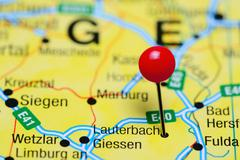 Lauterbach pinned on a map of Germany - stock photo