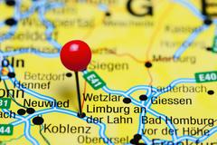 Limburg an der Lahn pinned on a map of Germany - stock photo