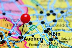 Aachen pinned on a map of Germany - stock photo