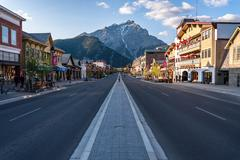 scenic view of Banff townsite - stock photo