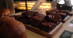 Brownie Display in Trendy Coffee Shop Stock Footage