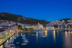 Croatia's Island Hvar and the blue hour Stock Photos