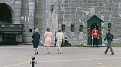 Quebec City, Canada 1965: guards at Château Frontenac Stock Footage