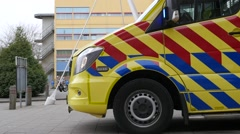 Dutch Ambulance on the scene during an enacted emergency - stock footage