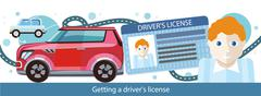 Cartoons Man with Driver License Stock Illustration