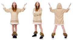 Eskimo girl  isolated on white Stock Photos