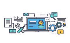 Icon Flat Style Design Online Consultation - stock illustration