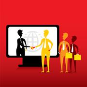 Online business deal or agreement concept design vector Stock Illustration