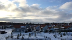 Houses and movement of clouds in the winter Stock Footage