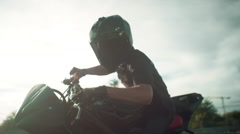 Burnout Motorbike  trick. Closeup - stock footage