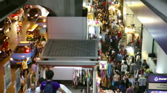 Bangkok Night Street view from Skytrain steps Stock Footage