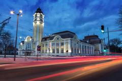 The central railway station of Burgas Stock Photos