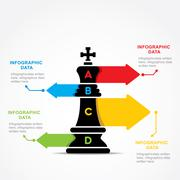 creative business info-graphic by chess king design vector - stock illustration