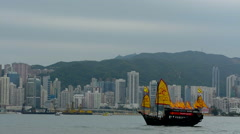 Hong Kong China skyline from water with traditional junk boat with yellow sails Stock Footage