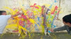 Creation of Street Artwork - stock footage