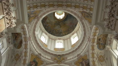 View of the interior of Saint Jacob Cathedral dome in Innsbruck Stock Footage