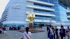 Hong Kong China Golden Bauhinia statue for the handover of Hong Kong from UK to Stock Footage