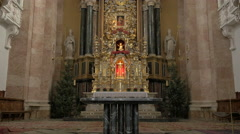 Tilt view of the altar of Saint Jacob Cathedral in Innsbruck - stock footage