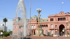 Buenos Aires Argentina Plaza de Mayo with Pink House Casa Rosada in square in Stock Footage