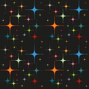 Colorful glowing stars on black background, seamless pattern Stock Illustration