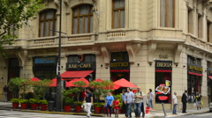 Buenos Aires Argentina city restaurant called Iberis Bistro Cafe on Ave de Mayo - stock footage