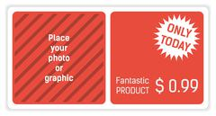 Red and white banner for your website with special offer - stock illustration