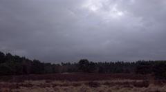 4k Lunenburg Heath moor landscape dark clouds - stock footage