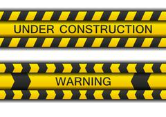 Two warning tapes - under construction and warning with shadow - stock illustration