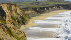 Half Moon Bay California shore ocean cliffs off of the Ritz Golf Course with Stock Footage