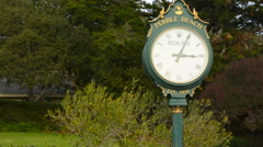 Pebble Beach California clock at Pebble Beach Golf Links exclusive golf course Stock Footage