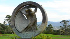 Pebble Beach California memorial sculpture for 100th US Open Championship at Stock Footage