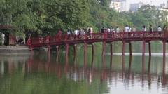 Bridge over Ho Tay Lake Stock Footage