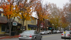 Danville California Hartz Avenue the main street with traffic downtown center Stock Footage