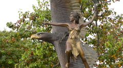 Oakland California statue of Cheemah, Mother of the Spirit Fire at Jack London Stock Footage