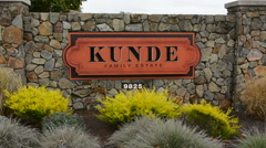 Sonoma Valley California Kunde Winery sign wine winery vineyards sign Napa Stock Footage