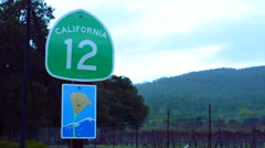 Sonoma Valley California road sign Route 12 wine route Napa Valley near Kenwood Stock Footage