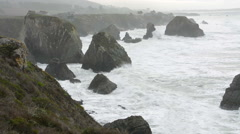 Pacific Coasy Highway Route 1 California near Jenner Duncan's Covewith waves and Stock Footage