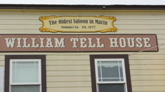 Tomales California on PCH #1 at the William Tell House the oldest saloon in Stock Footage