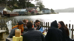 Marshall California outdoors bar called Hog Island Oyster Co, on PCH #1 Pacific Stock Footage